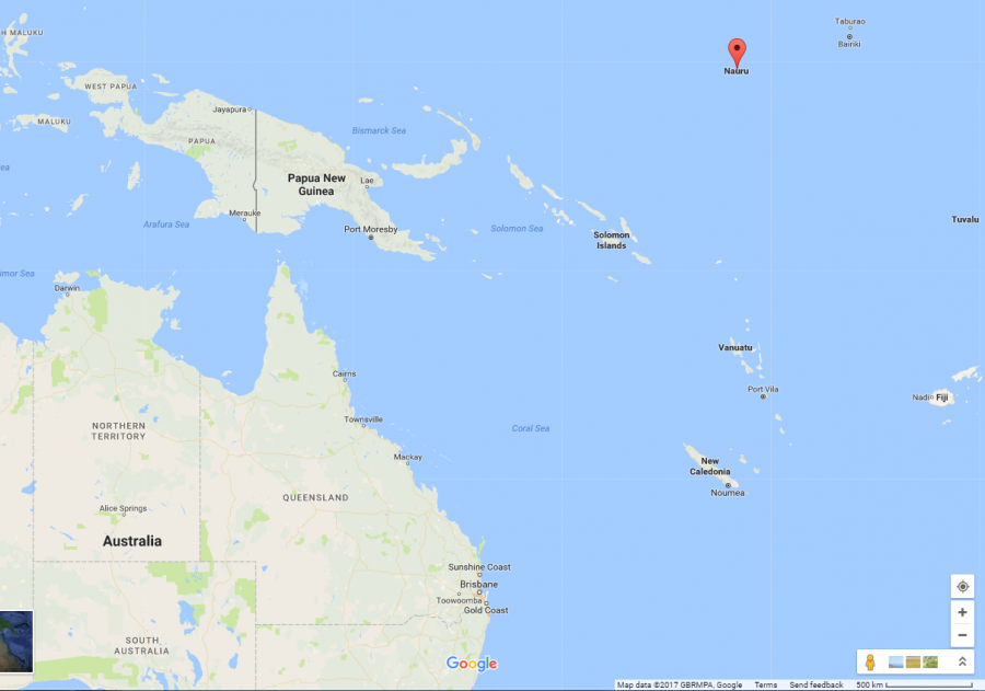 The 10-square-mile island of Nauru is 20 miles south of the equator and 2,800 miles from Australia.