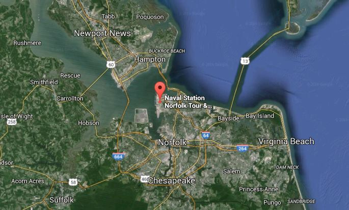 Norfolk naval station map