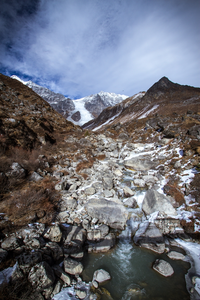 Langtang valley, north of Kathmandu, Nepal. Glaciers there have been receding.
