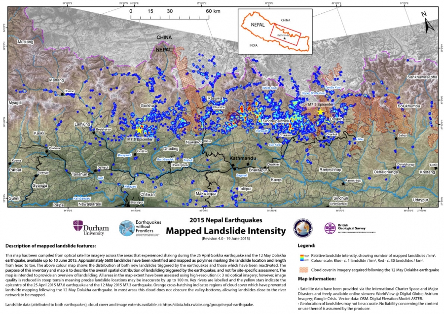 Landslide density map, Earthquakes without Frontiers