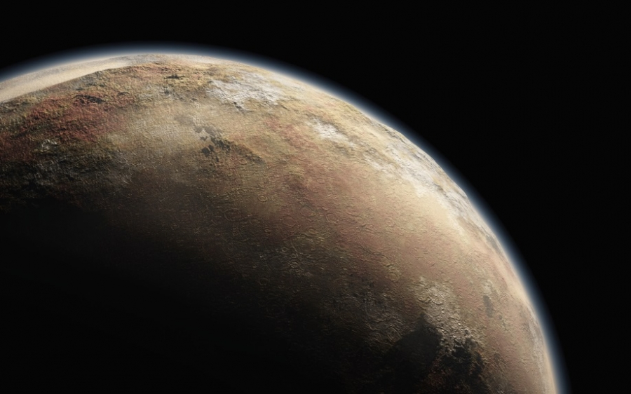 Artist's impression of Pluto, with its wispy atmosphere. Data from New Horizons' ultraviolet spectrograph will investigate the composition and structure of that atmosphere.