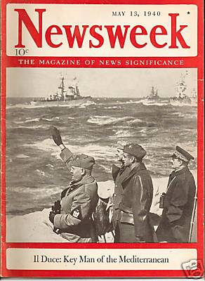Cover of the May 13, 1940, issue of Newsweek magazine.