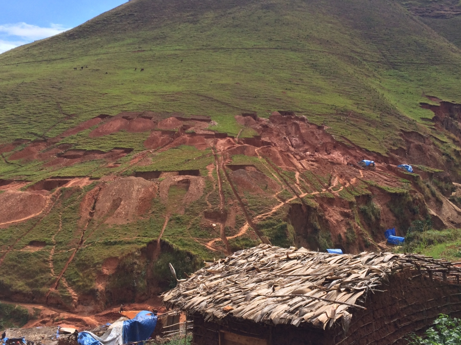 Tunnels cut into a mountain at Ngweshe mining site in South Kivu, a gold-rich province in eastern DRC.
