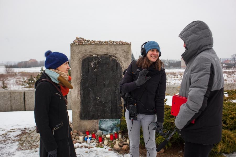 The World's Nina Porzucki (center), reporting in Jedwabne, Poland