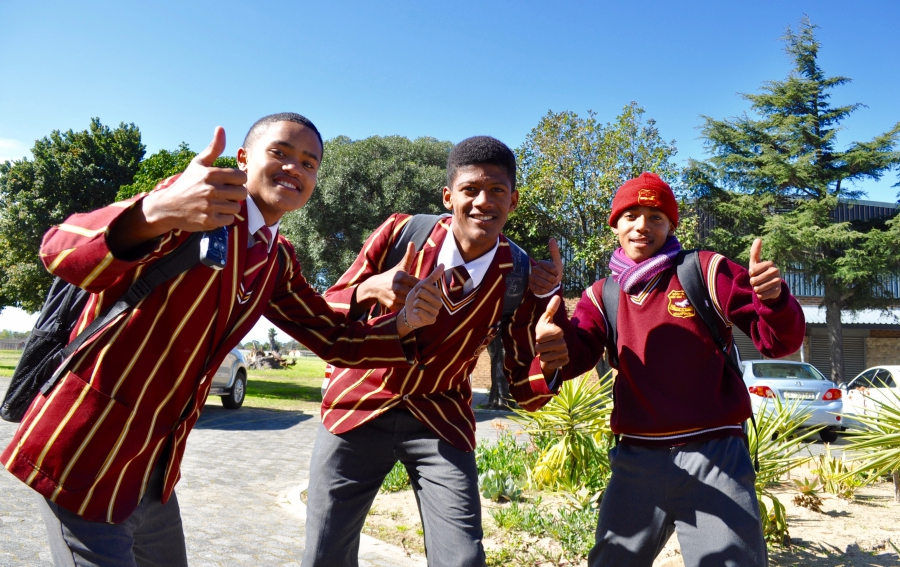 High school students in Wayde's home suburb of Kraaifontein in Cape Town.They were celebrating his win after a special victory assembly at Scottsville High School in Kraaifontein.