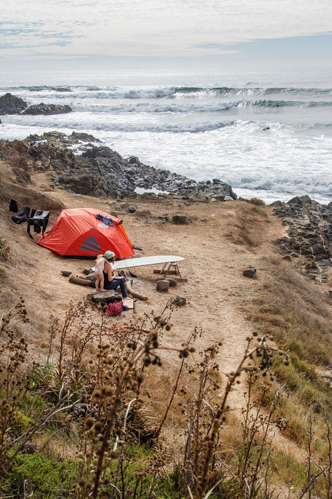 'We just chilled here. There were amazing waves!' at a campsite near the ocean in central Chile.