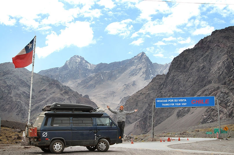 Stopping to take in the view of Mt. Aconcagua near the border of Chile & Argentina.