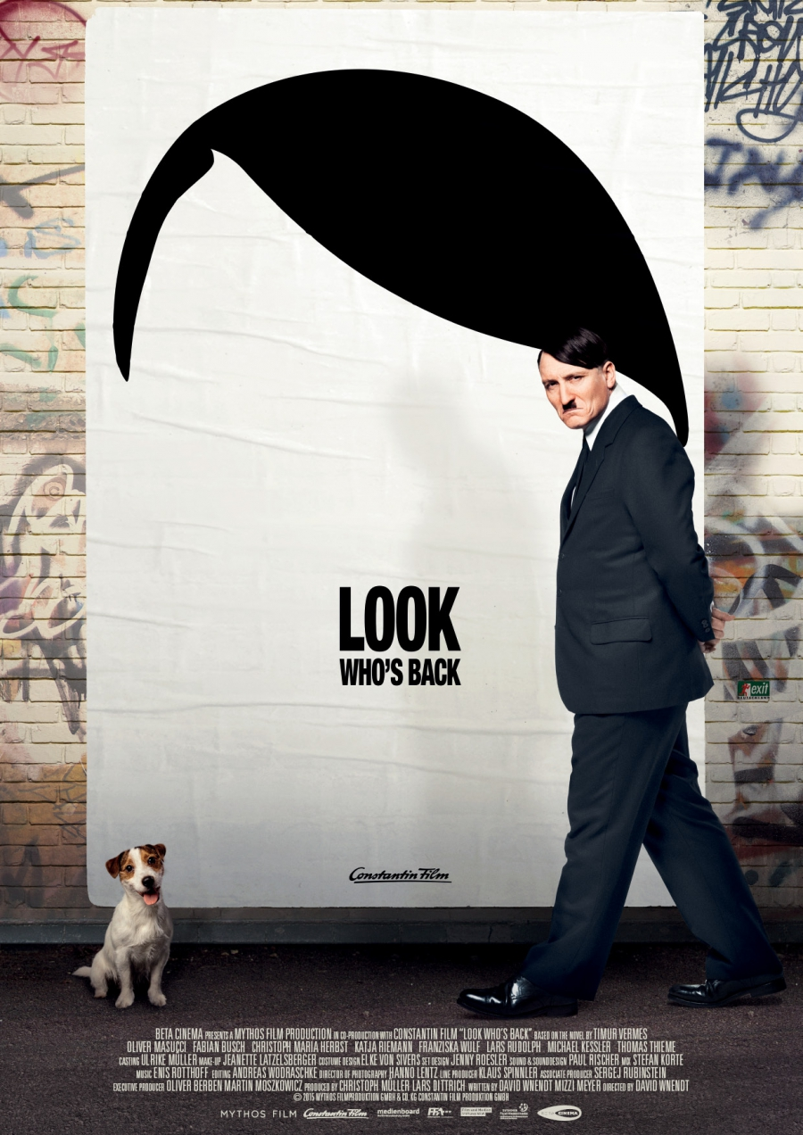 a poster of actor Oliver Masucci as Hitler in Look Who's Back