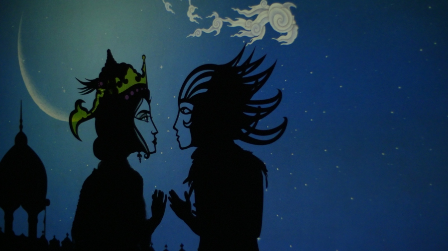 Shadow puppet couple feathers fire