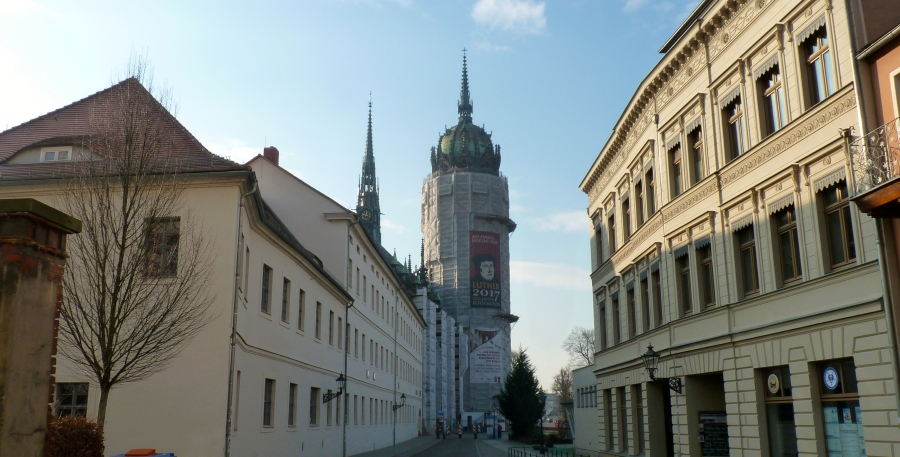 """""""Castle Church"""" in Wittenberg - formerly All Saints Catholic Church - is being renovated, along with many Wittenberg buildings connected to Luther."""