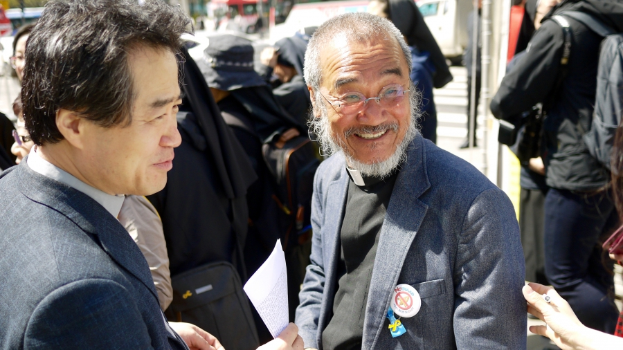 Father Moon Paul Kyu-hyn (right) is a Jesuit priest and part of a group of Korean Catholic clergy speaking out against South Korea's dependence on nuclear energy.