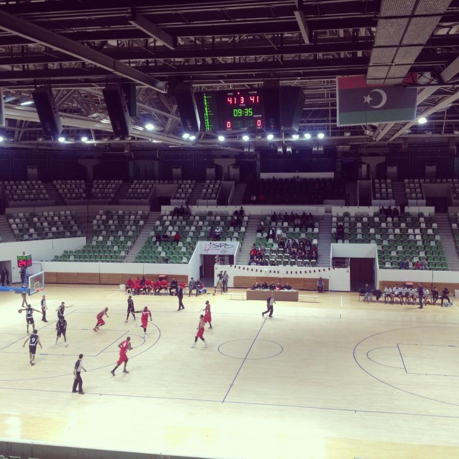 Ittihad, Shane Burrel and DeAndre Rice's basketball club practicing in Tripoli, Libya.