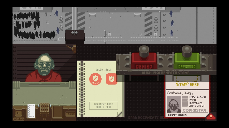 """A view of my inspector's booth in """"Papers, Please."""""""