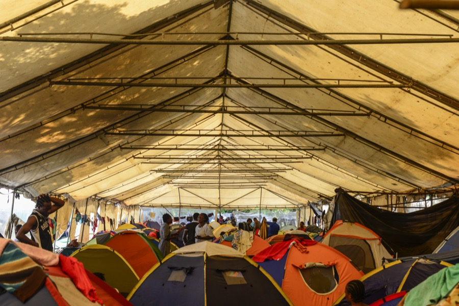 Migrants camped in Penas Blancas near Costa Rica's border with Nicaragua