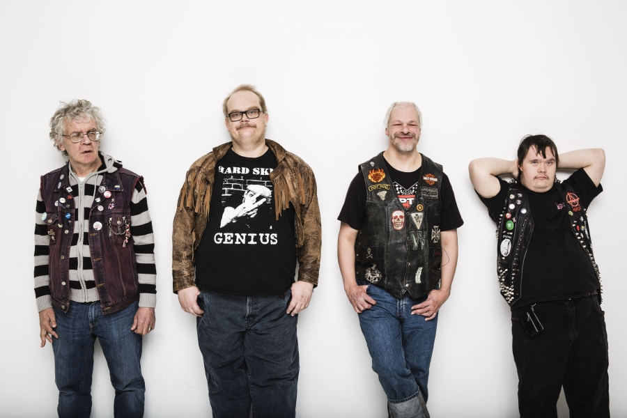"""""""The lyrics that we have, they fit punk,"""" says Sami Helle, who plays bass for Pertti Kurikan Nimipäivät. From left: Pertti Kurikaa, Sami Helle, Kari Aalto, and Toni Välitalo."""