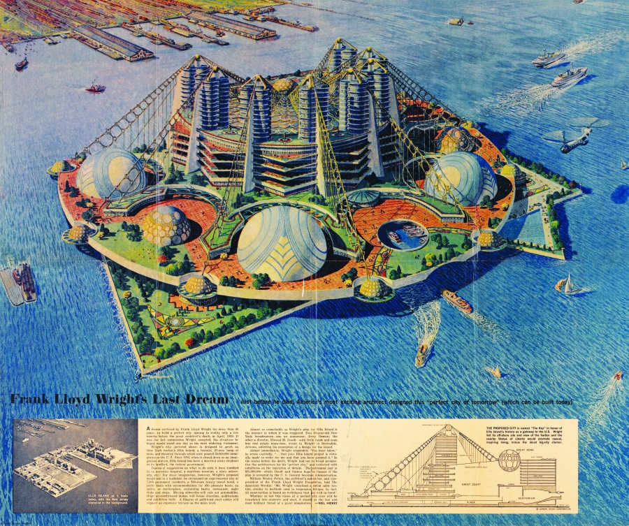 Frank Lloyd Wright's plan for the decommissioned Ellis Island
