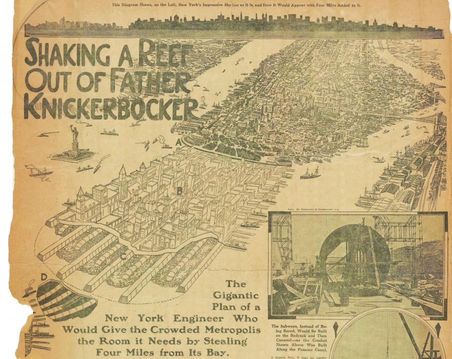 A plan to extend the island of Manhattan