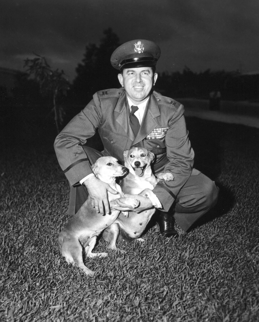 """""""Nichols loved dogs,"""" Harden writes. """"In Korea, he had a snarling pack of mutts for protection from North Korean assassins. At his spy base outside of Seoul, his dogs sometimes ate with him in the officers' mess and occasionally bit other air force office"""