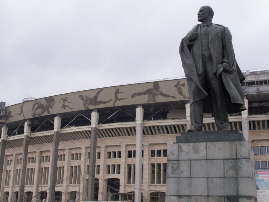 A Soviet-era statue of Vladimir Lenin stands outside Luzhniki Stadium in Moscow. Russia will host the 2018 World Cup in 11 host cities that need new stadiums or extensive renovations on older venues like Luzhniki Stadium.