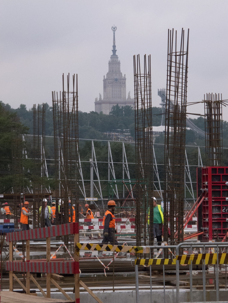 Construction workers outside Luzhniki Stadium in Moscow.