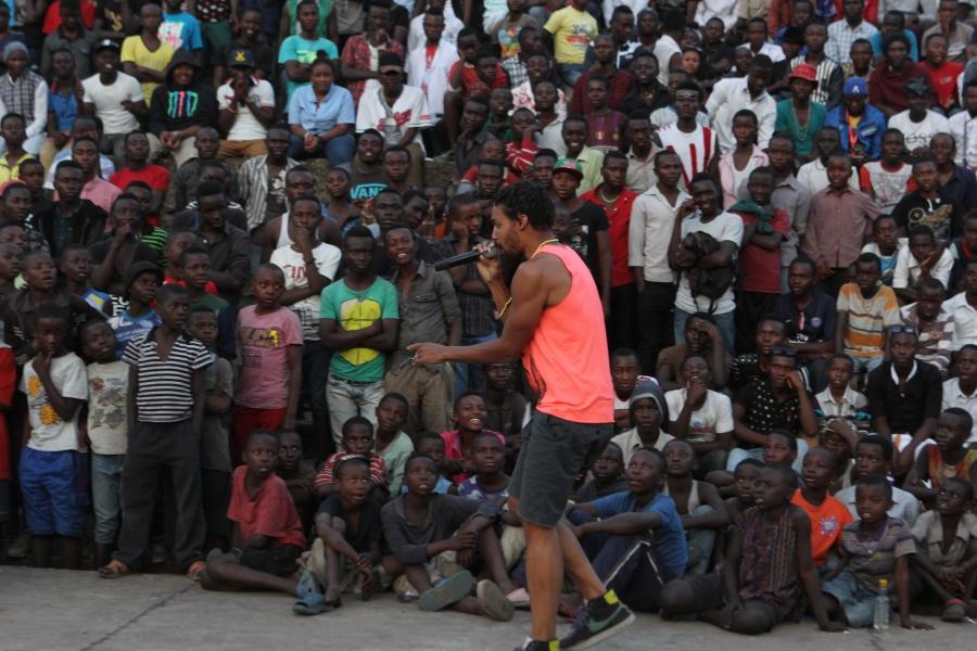 Pierce Freelon performing in Goma, Democratic Republic of Congo.