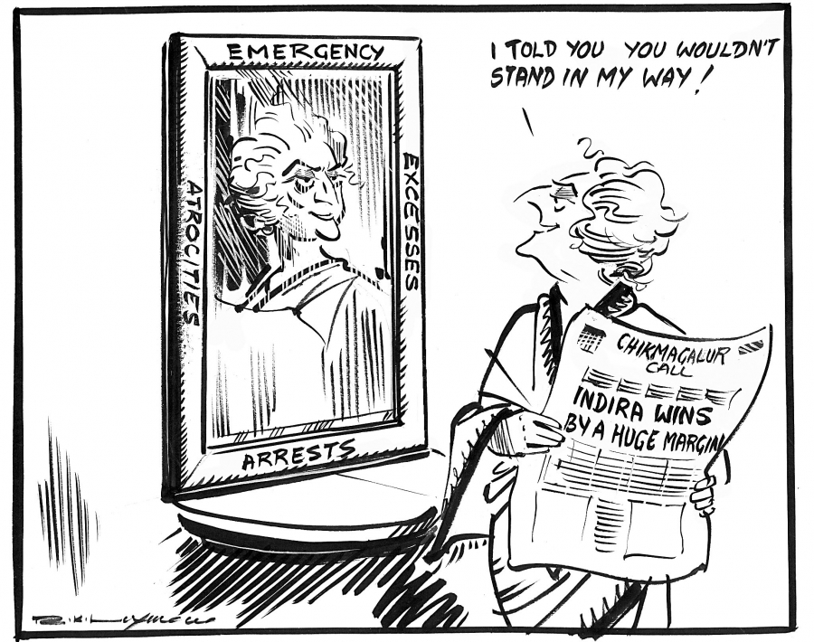 R.K. Laxman, India, November 1978. After a period in the political wilderness following the end of The Emergency, Indira Gandhi uses a by-election (replacing a politician who has resigned or died) to win back a seat in the Lok Sabha, India's parliament.