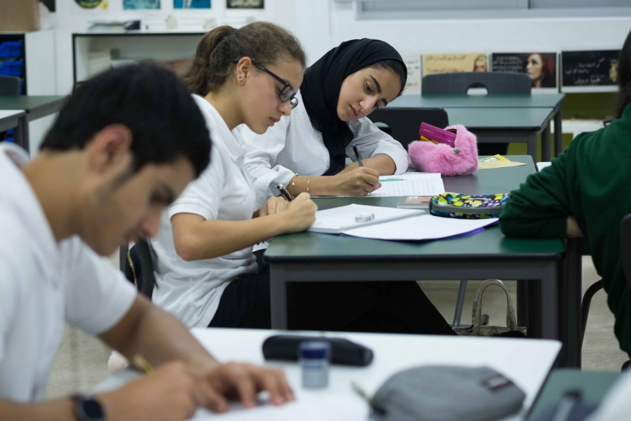 Students at a private school in Dubai.
