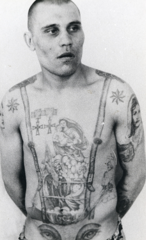 The stars on the shoulders show that this Soviet inmate was a criminal 'authority,' says Damon Murray. The eyes on the stomach denote a homosexual (the penis makes the 'nose' of the face).