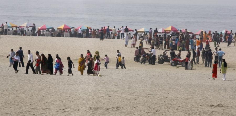 Beachgoers at Cox's Bazar, Bangladesh, Feb. 9, 2008.