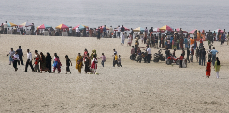 Beachgoers at Cox's Bazar, Bangladesh, Feb. 9, 2008.