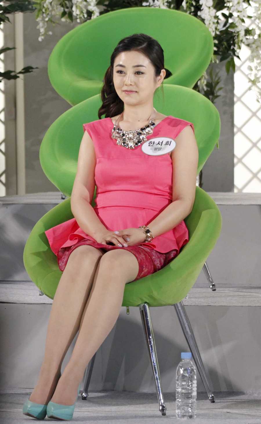 A North Korean defector living in South Korea, Han Seo-hee, 30, takes part in a TV program at a studio in Goyang, north of Seoul, on June 14, 2012.