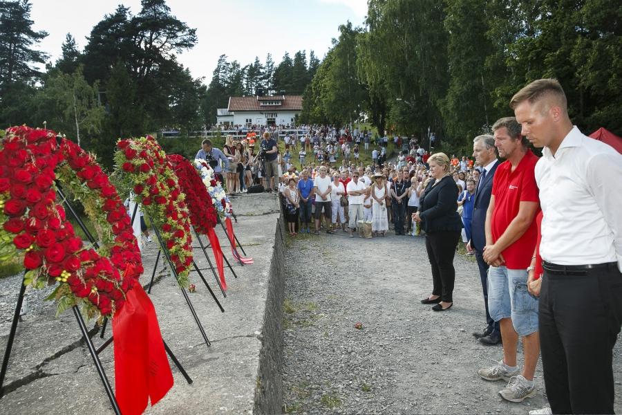 wreath laying ceremony on Utoya Island July 22, 2014