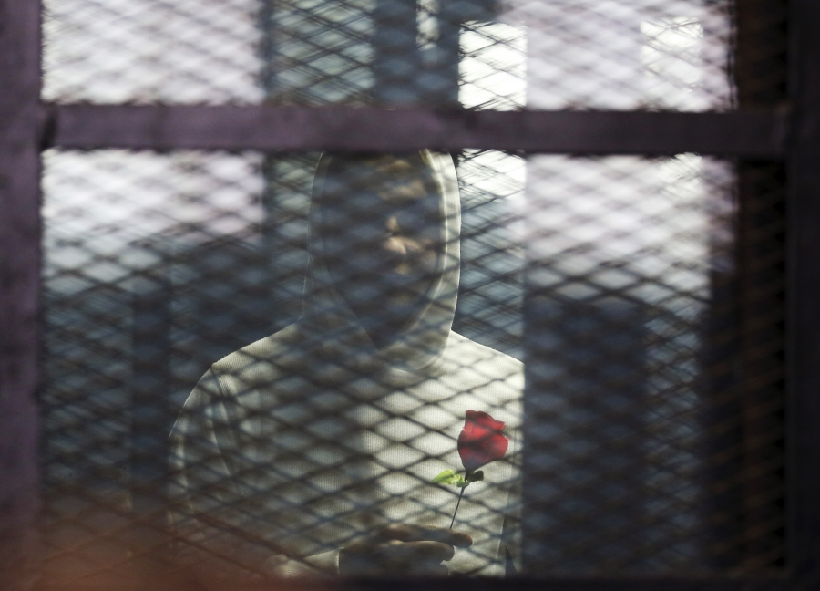 A defendant holds a rose during the retrial of 21 activists on charges of breaking a law that bans protests without a police permit, in Cairo, Feb. 12, 2015