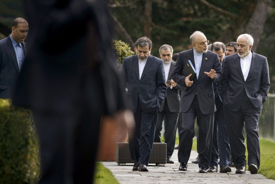 Iranian Deputy Foreign Minister Abbas Araghchi (second from the left) with Iranian Foreign Minister Javad Zarif