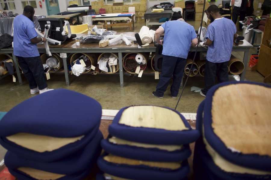 Inmates work in the furniture shop during a media tour of the Curran-Fromhold Correctional Facility in Philadelphia, Pennsylvania, August 7, 2015.