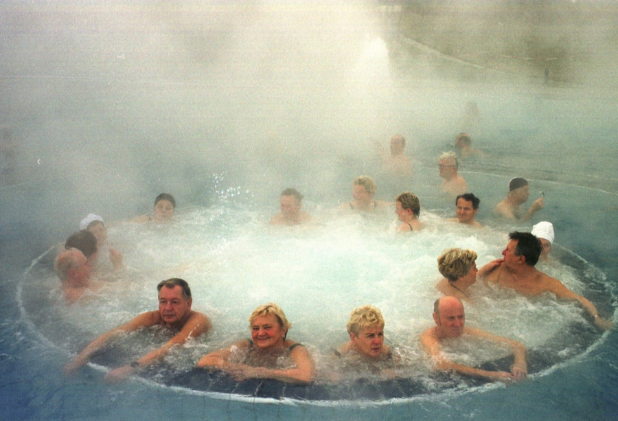 Spa visitors relax in a pool containing radon in the eastern German town of Schlema in January 2001.