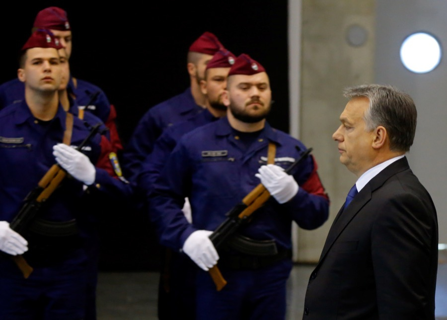 Hungarian Prime Minister Viktor Orban attends a swearing-in ceremony of border hunter recruits in Budapest, Hungary, on March 7.