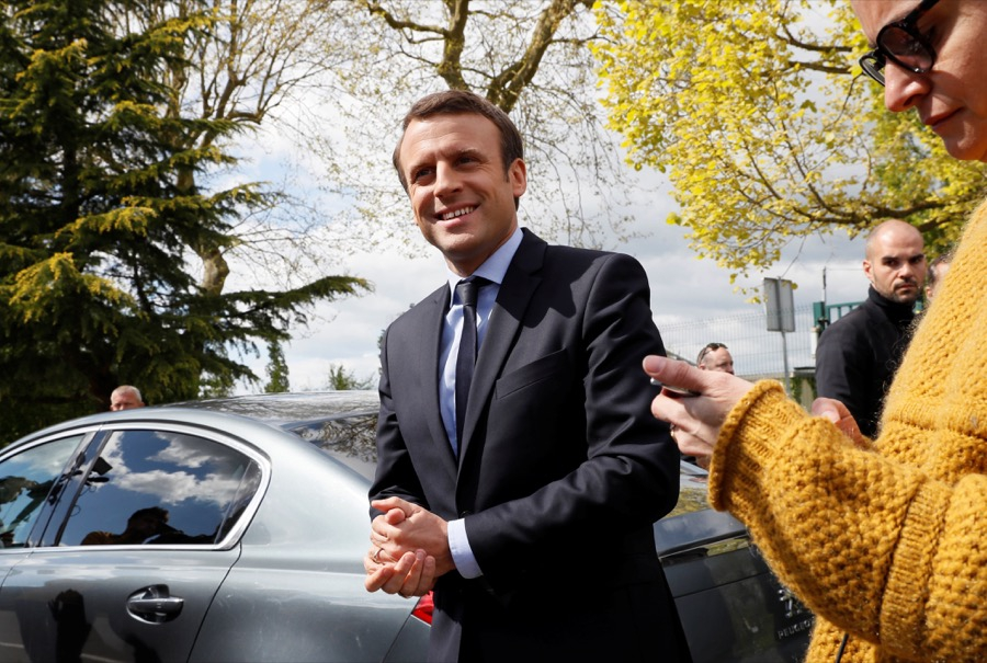 Emmanuel Macron, head of the political movement En Marche! and candidate for the French presidential election, in Bazainville, France, on April 18.
