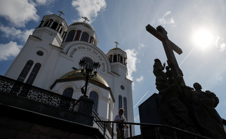 A church and monument to the last Russian Czar Nicholas II and his family are pictured in Yekaterinburg, Russia, Aug. 19, 2017.