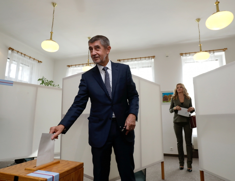 The leader of the Czech ANO party Andrej Babis casts his vote in parliamentary elections in Prague, Czech Republic, on Oct. 20, 2017.