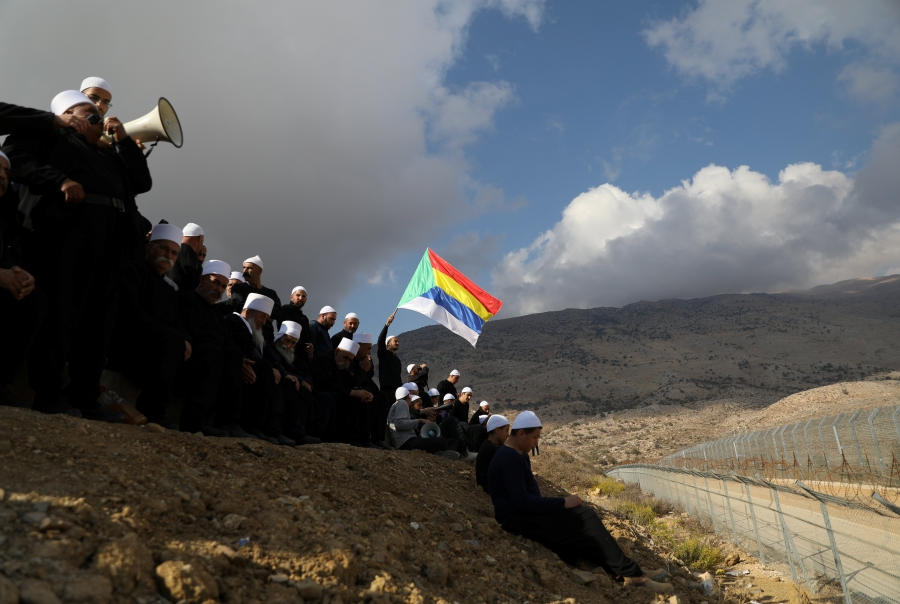Druze  in the Golan Heights gather to contact their relatives across the border in Syria, Nov. 4, 2017.