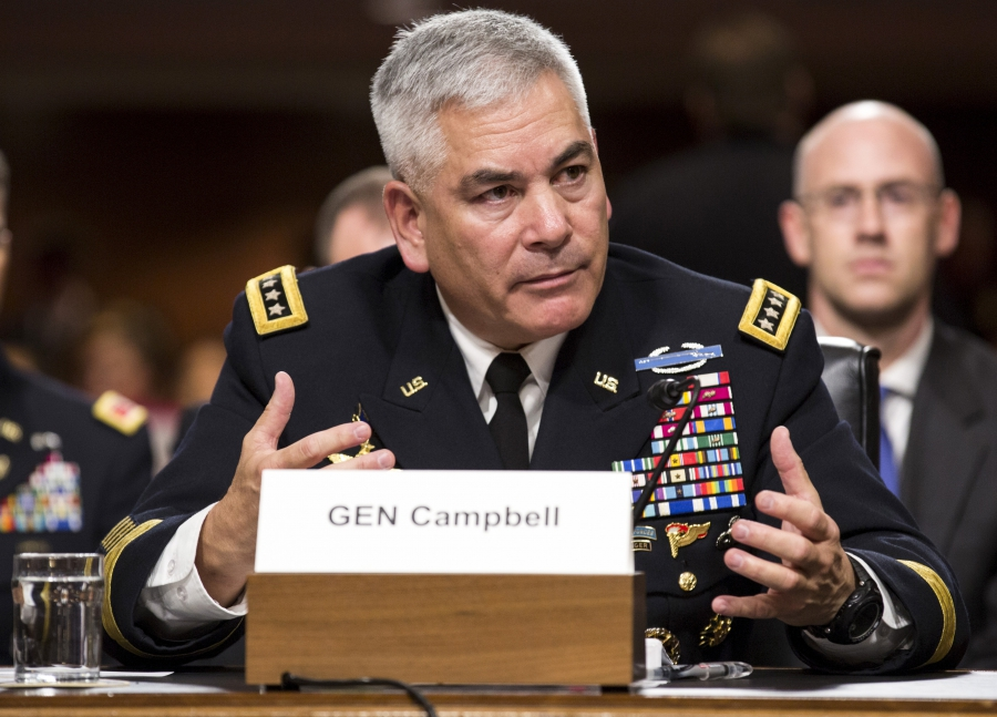 "U.S. Army General John Campbell, commander of the Resolute Support Mission and United States Force - Afghanistan, testifies before a Senate Armed Services Committee hearing on ""The Situation in Afghanistan"" on Capitol Hill in Washington October 6, 2015."