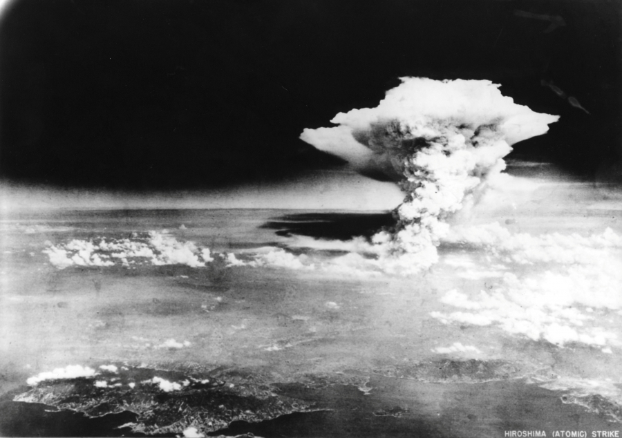 An atomic cloud billows, following the explosion of the first atomic bomb to be used in warfare in Hiroshima, Japan on August 6, 1945.