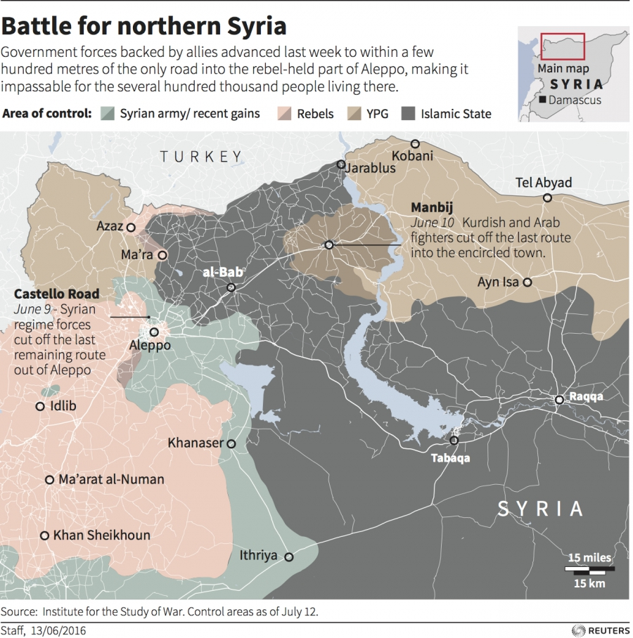 Map of battle for northing Syria