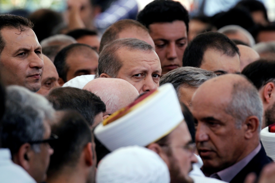 Turkish President Recep Tayyip Erdogan attends a funeral service for victims of the thwarted coup in Istanbul at Fatih Mosque in Istanbul, Turkey, July 17, 2016.