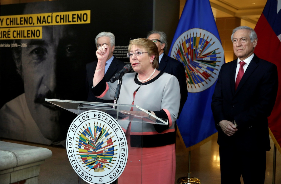 Chilean President Michelle Bachelet at OAS for Letelier photo exhibit