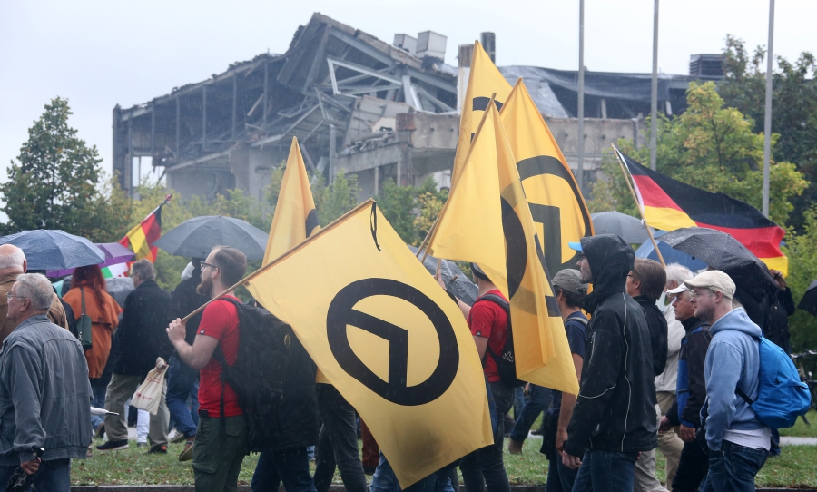 The 'alt-right' claims to draw from European identitarians. Pictured here are German identitarians during German Unification Day in Dresden, Germany, October 3, 2016.