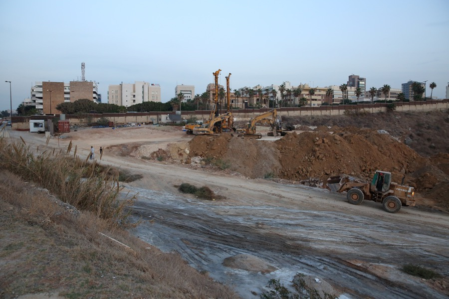 Vehicles work on the construction of the Eden Rock Resort on the south end of Ramlet al-Baida beach, in Beirut