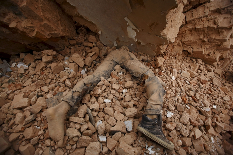 A victim of the earthquake in Nepal