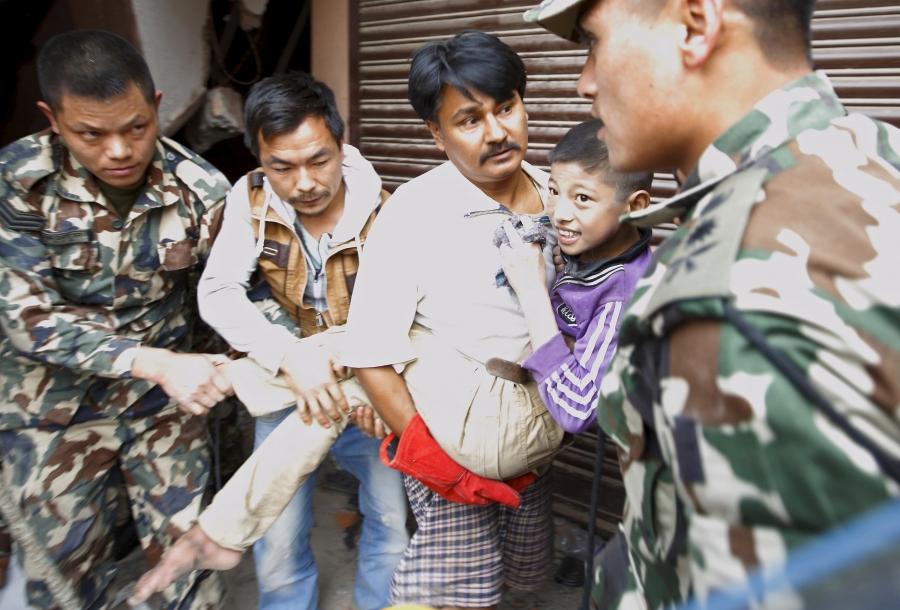 A boy is rescued in Nepal